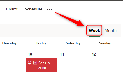 "The ""Week"" option in theSchedule view."