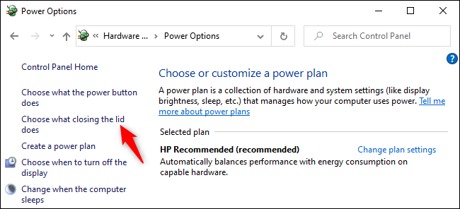 "Launching the ""Choose what closing the lid does"" settings from Power Options"