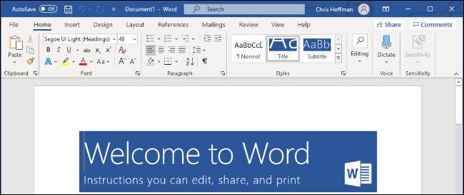 Microsoft Word on Windows 10