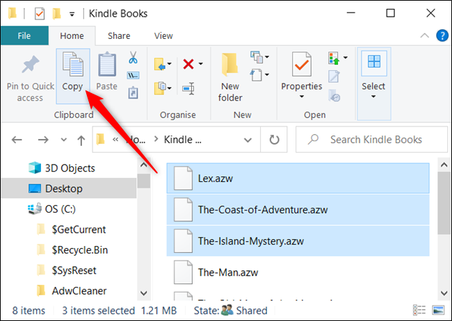 """Highlight the files and click """"Copy"""" from the Home tab."""