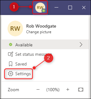 Microsoft Teams' Settings option.