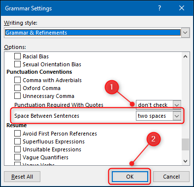 "The ""Grammar Settings"" panel with the ""Space Between Sentences"" option highlighted."