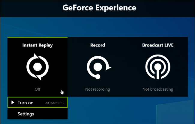 Activating NVIDIA's Instant Replay background recording