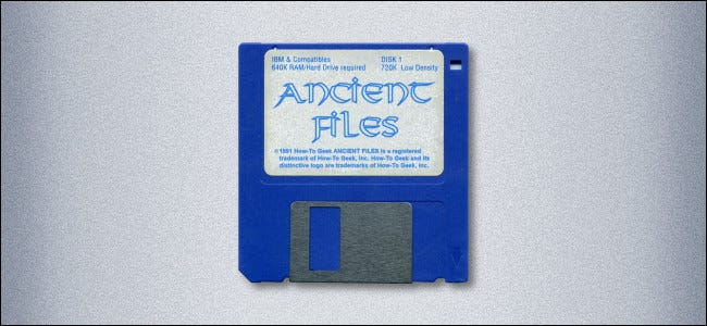 """A 3.5-inch floppy disk labeled """"Ancient Files."""""""