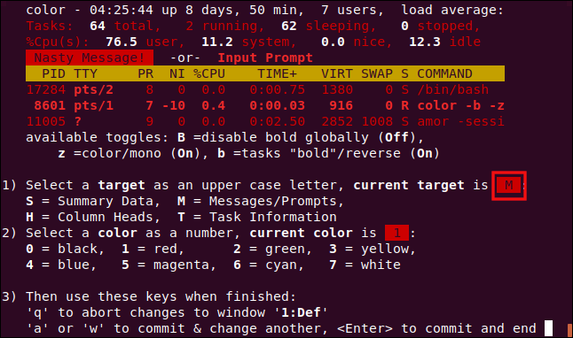 top color setting page with option M selected, in a terminal window.