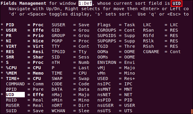 top displaying the field management screen with the UID column set as the sort column in a terminal window.