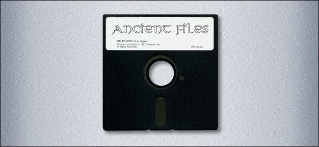 """A 5.25-inch floppy disk labeled """"Ancient Files."""""""