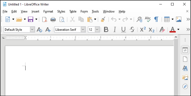LibreOffice Writer on Windows 10