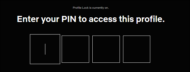Entering a PIN for Profile Lock on Netflix