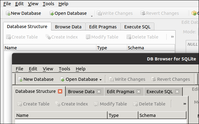 Two versions of DB Browser for SQLite running in GNOME.