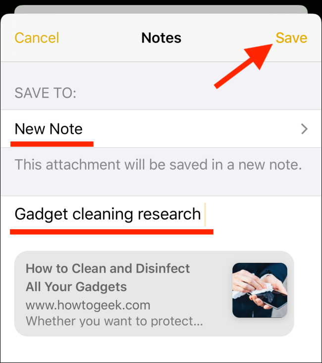 Add note title and tap on Save