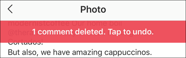 Banner showing the comment has been deleted with undo option