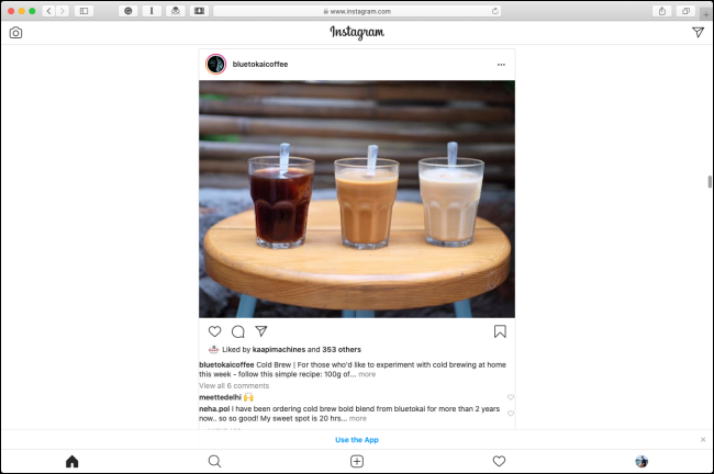 The Instagram mobile layout in Safari on a Mac.