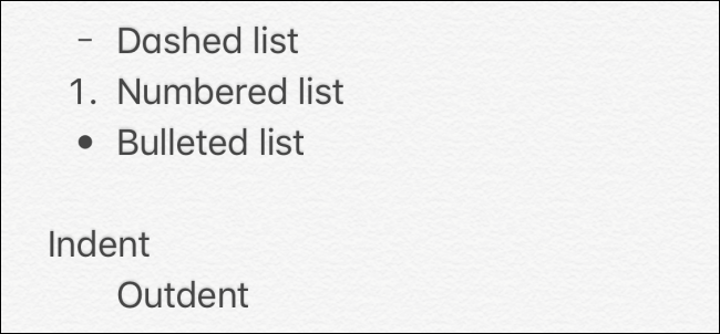 Lists in Notes app