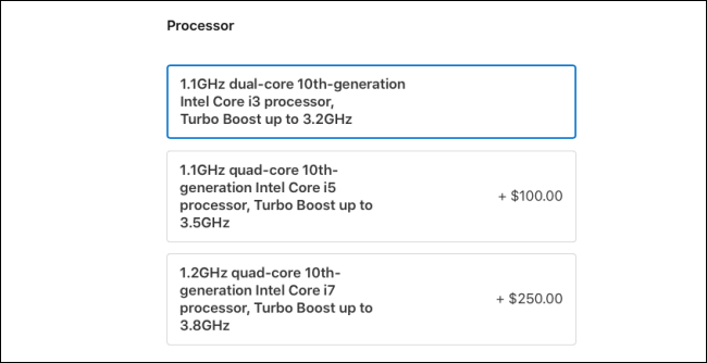 The MacBook Air 2020 Processor options.
