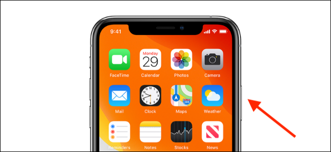 Press on the Side button on the iPhone