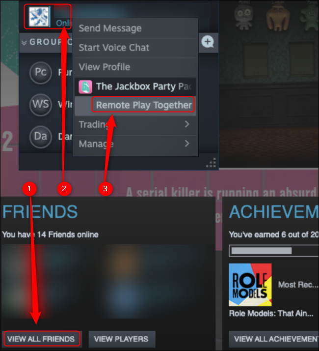 """Click """"View All Friends,"""" right-click the friend you want to invite, and then click """"Remote Play Together."""""""