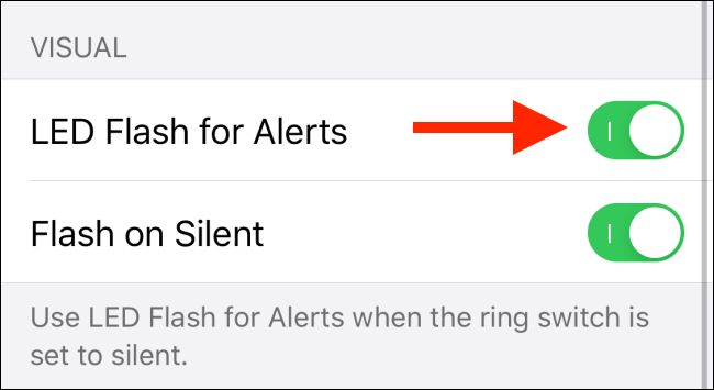 Tap to enable LED Flash for alerts