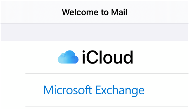 Welcome screen in Mail app