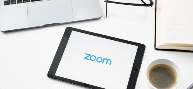 The Zoom logo on a tablet.