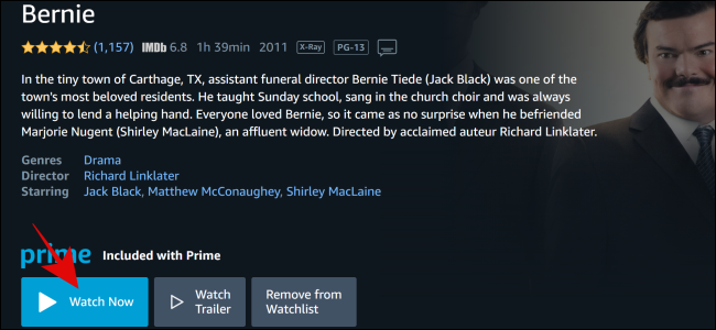 """Select """"Watch Now"""" on Amazon Prime Video."""