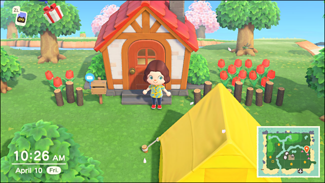 An annoying tent in Animal Crossing: New Horizons