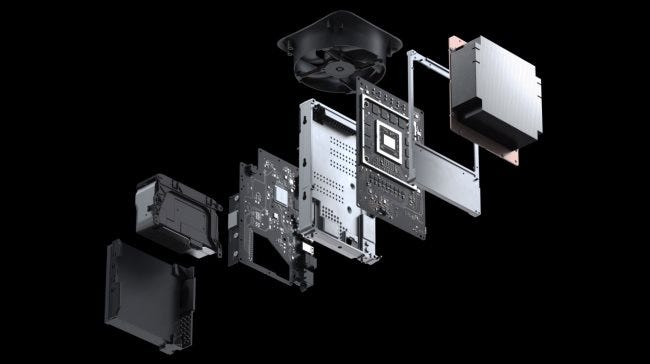 The Xbox Series X's internals.