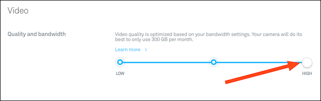 Change your video quality using the slider