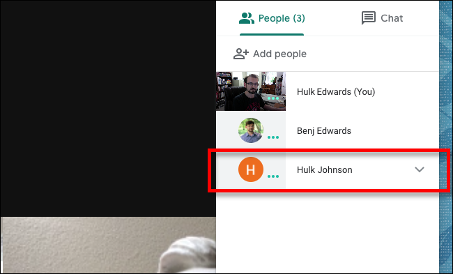 Google Meet Click Person you want to mute