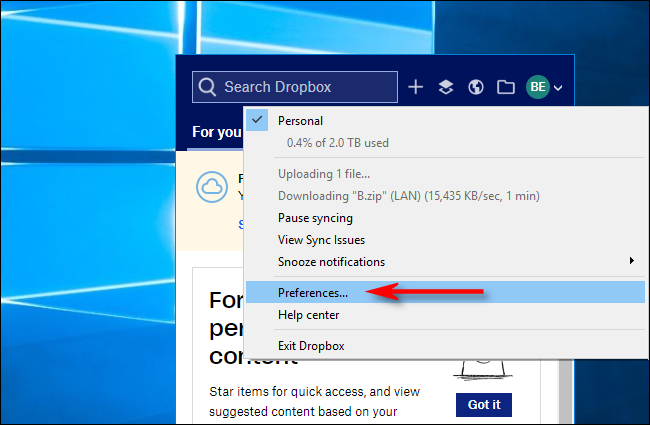 Haga clic en Preferencias en Dropbox para Windows