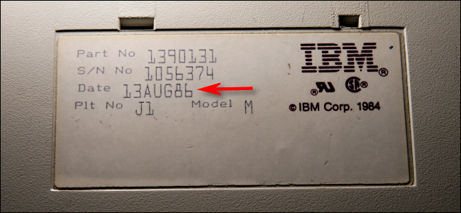A manufacturing date of Aug. 13, 1986, on the bottom of an IBM Model M Keyboard.