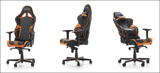 Three DXRacer Racing Series PRO gaming chairs.