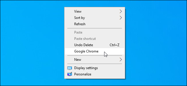 A custom shortcut added to the Windows 10 desktop's context menu.