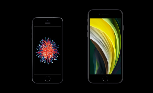 The old iPhone on the left and the new SE on the right.