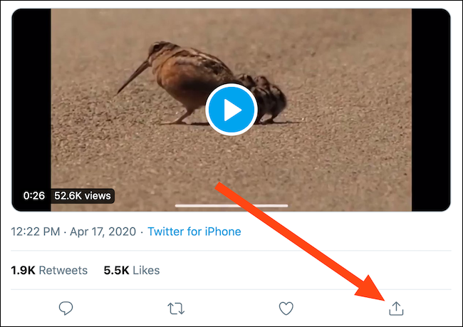 Locate a tweet with a video and then click the Share button