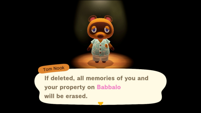 Tom Nook warns about deleting registration data in Animal Crossing: New Horizons