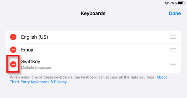 Delete Third-Party Keyboard on iPad