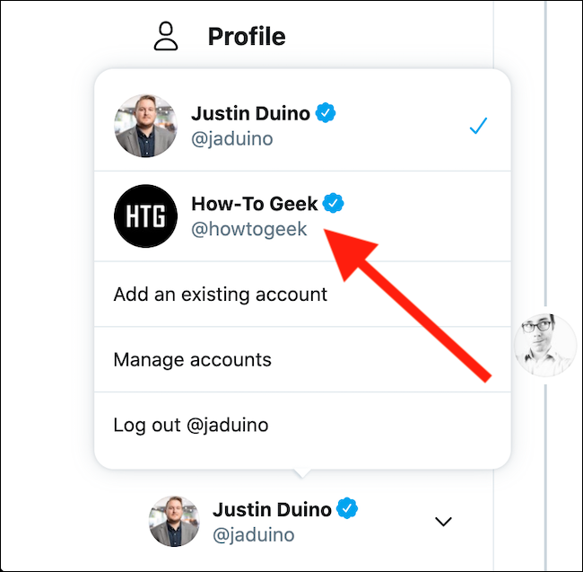 Select the Twitter account that you want to switch to