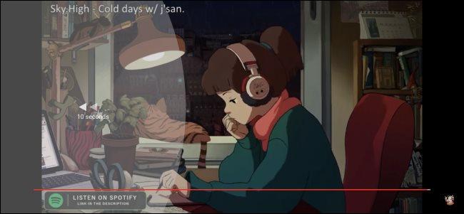 Retroceda tocando dos veces en cualquier lugar del lado izquierdo del video.