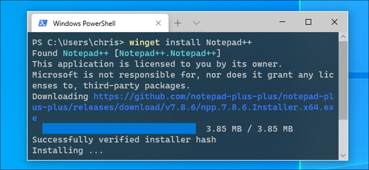 Installing Notepad++ with winget in a Windows Terminal window.
