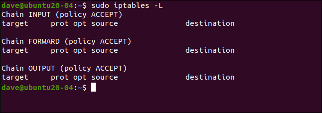 sudo iptables -L in a terminal window.