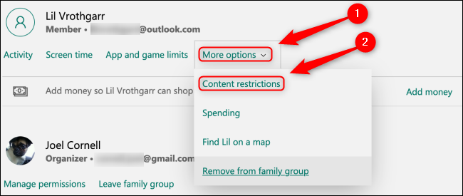 Microsoft Family Group Content Restrictions Button
