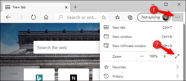 Enabling full-screen mode in the new Microsoft Edge with a mouse.