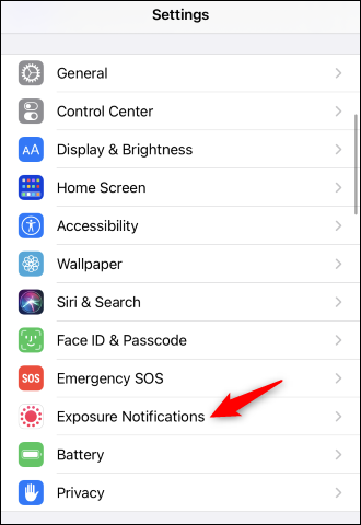 "Tap ""Exposure Notifications"" under Settings."