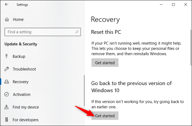 Uninstalling Windows 10's May 2020 update