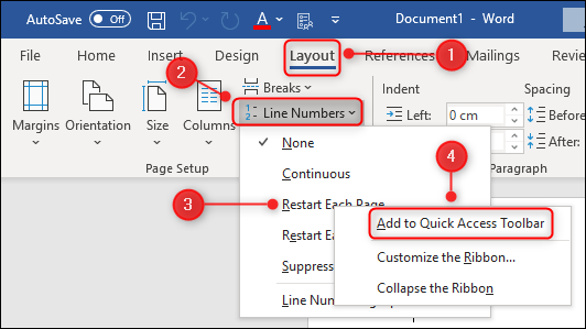 """The """"Add to Quick Access Toolbar"""" menu option."""