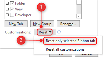 """The """"Reset only selected Ribbon tab"""" menu option."""