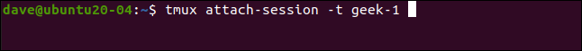 tmux attach-session -t geek-1 in a terminal window.