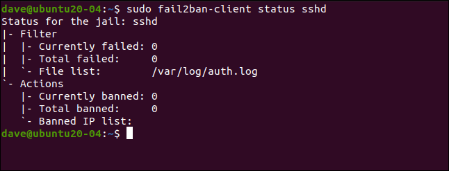 sudo fail2ban-client status sshd in a terminal window.