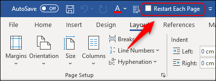 """The """"Restart Each Page"""" command on the toolbar."""